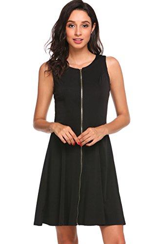 Zipper Shift Dress - 1