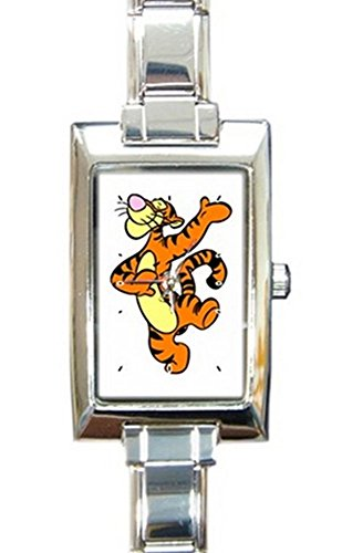 Dancing Tigger Rectangular Italian Charm Watch with Stainless Steel 16 Link Wrist Strap Pooh Bear Winnie The Pooh Tiger