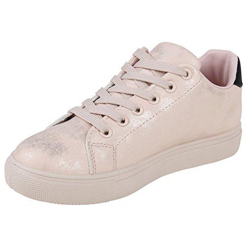 Stiefelparadies Damen Sneaker Low Glitzer Metallic Schuhe Gesteppte Sneakers Turnschuhe Denim Sportschuhe Schnürer Lack Flats Schnürschuhe Freizeitschuhe Flandell Nude Metallic Nieten