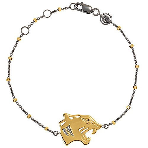 Black Onyx 18k Yellow Gold Vermeil Tiger Symbol for Power Black Rhodium-Plated 7.5