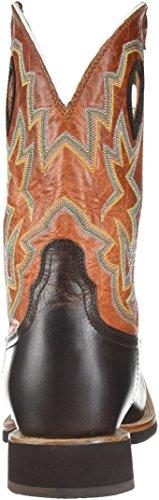 Mhm0014 Gedraaid X Heren Plooistok Westernlaarzen - Chocoladebruin / Oranje