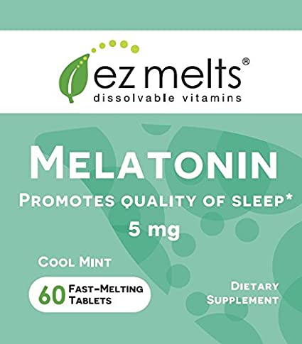 Amazon.com: EZ Melts Melatonin for Sleep, 5 mg, Sublingual Vitamins, Vegan, Zero Sugar, Natural Mint Flavor, 60 Fast Dissolve Tablets: Health & Personal ...