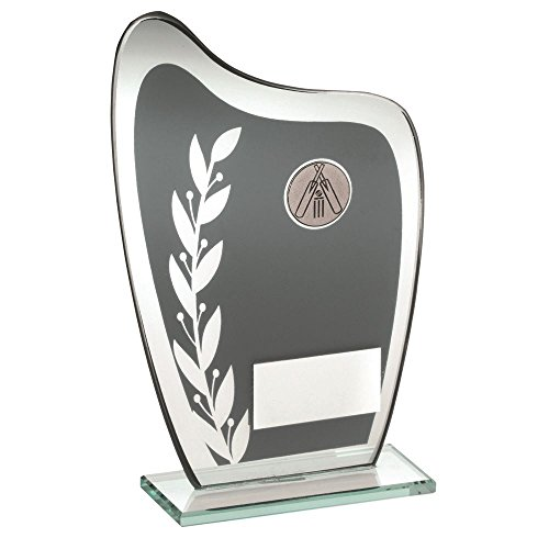 Lapal Dimension GREY/SILVER GLASS PLAQUE WITH CRICKET INSERT TROPHY - 7.25in by Lapal Dimension