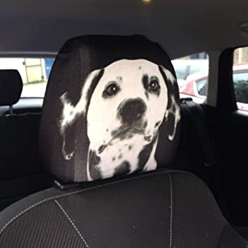 CAR SEAT HEAD REST COVERS 2 PACK DALMATIAN DOG DESIGN MADE IN YORKSHIRE