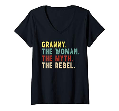 (Womens Granny the Woman the Myth the Rebel Shirt Bad Influence V-Neck T-Shirt)