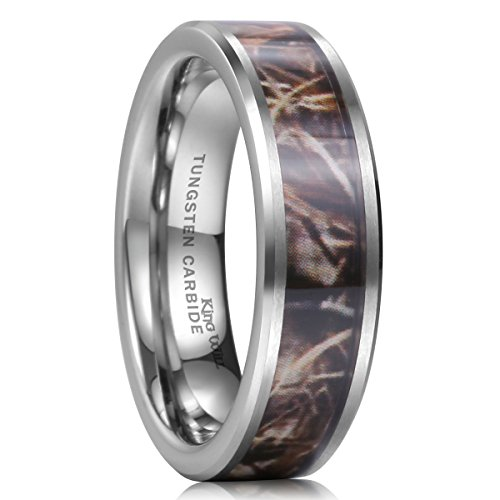 Tungsten Camo Wedding Rings King Will 8mm Camouflage Hunting Mens Tungsten Ring Camo