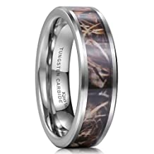 King Will 8mm Camouflage Hunting Mens Tungsten Ring Camo Polished Wedding Band Trees Leaves