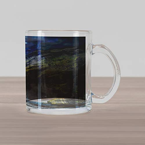 Ambesonne Waterfall Glass Mug, Waterfall and Grand Cliffs in Northern America Force of Nature Art Print, Printed Clear Glass Coffee Mug Cup for Beverages Water Tea Drinks, Green Blue White - Grande Clear Glass Waterfall