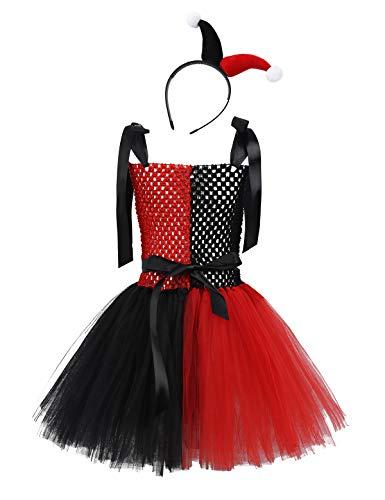Best Super Villain Costumes (Alvivi Kids Super Villain Costumes Clown Girls Sorcerer Tutu Dress with Headband Halloween Cosplay Party Outfit Black&Red)