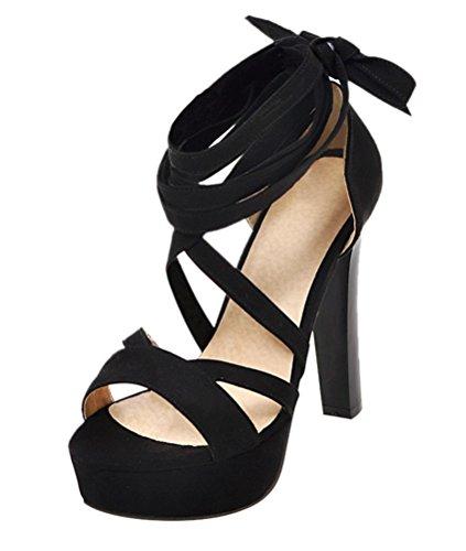 Ye Damen High Heels Sandalen Mit Schnurung Plateau Pumps Offen 12cm