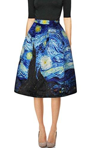 Prettyard Women Girl High Waist Starry Night Graffiti Paint Knee High Midi Skirt   Women Us 6 8 S M  Ignore Our Tag