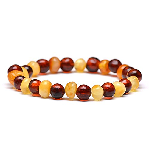 Polished Genuine Baltic Amber Bracelet for Adult - Choose Your Color and Choose Your Size! - 3 Sizes and 10 Different Colors - 100% Authentic Baltic Amber (7.8 inches, mixed2)