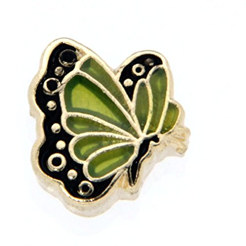 August Butterfly Enamel Birthmonth Charm for Floating Lockets, Goldtone