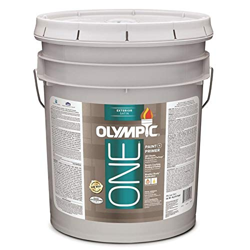 Olympic One White Latex Enamel Exterior Paint and Primer in One Tintable 5 Gallons (Satin)