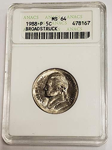 1988 P Jefferson Broadstruck Nickel MS64 ANACS