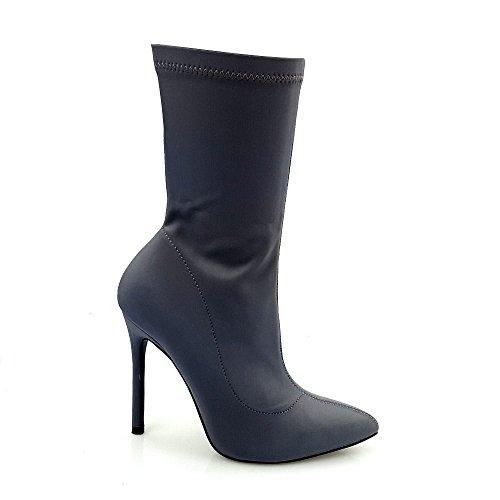 Bobbie Womens Ladies High Heel Stiletto Mid Calf Zip Pointed Toe Ankle Boot Grey VlRtLca
