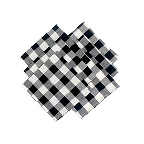 Grancens 100% Cotton Buffalo Plaid Check Cloth Napkin Set of 6 for Thanksgiving, Christmas, Family Dinner or Gathering, Party, Picnic, Buffet, Wedding (17x17, Black & White) ()