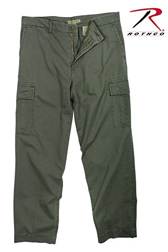 Rothco Vintage Flat Front Cargo Pants, Olive Drab, 38