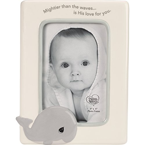 Precious Moments 185044 Mightier Than The Waves Ceramic Whale Photo Frame, One Size, Multicolor (Frame God Boy Baby)
