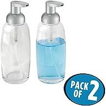 mDesign Modern Glass Refillable Foaming Refillable Liquid Hand Soap Dispenser Pump Modern Bottles for Bathroom Vanities or Kitchen Sink, Countertops - Set of 2, Clear with Matte Silver Pump Head