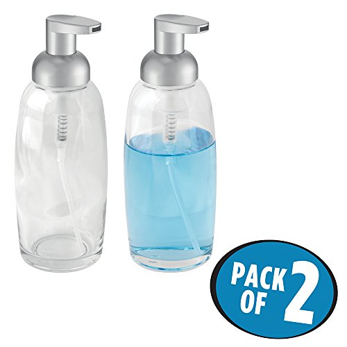 mDesign Foaming Glass Soap Dispenser Pump, for Kitchen or Bathroom Countertops- Pack of 2, Clear/Matte Silver