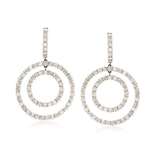 Ross-Simons 7.10 ct. t.w. Diamond Double Circle Drop Earrings in 18kt White Gold