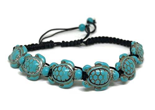 Shrimp Costume Diy (Sea Turtle Hemp Macrame Bracelet - Six Turquoise Tortoise Adjustable Wristband for Women)