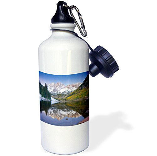 "3dRose wb_88901_1 ""Colorado, Rocky Mountains, Aspen, Maroon Bells US06 DSV0050 David Svilar"" Sports Water Bottle, 21 oz, White"