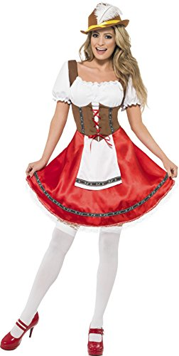 Smiffys Women's Bavarian Wench Costume, Dress with Attached Apron, Around the World, Serious Fun, Size 10-12, -