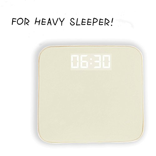 Alarm Clock for Heavy Sleepers - IdentikitGift Rug Carpet Alarm Clock, Digital Display,Pressure Sensitive Alarm Clock with The Softest Touch for Modern Home, Kids, Teens, Girls and Guys(Creamy-White)