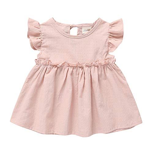 (Cecobora Toddler Baby Girls Cotton Tunic Dress Swing Casual Sundress Princess Overall Dress (Pink,)