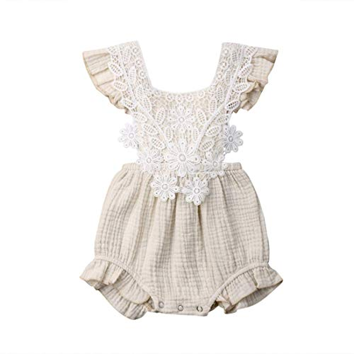Newborn Baby Girl Clothes Sets Cotton Linen Blend Ruffle Lace Fly Sleeve Casual Romper Summer Outfits