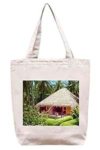 Exuberante y verde de casetas de playa - lona del algodón bolso de mano