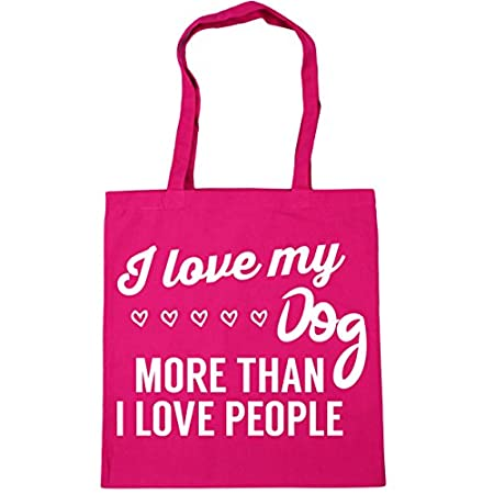 HippoWarehouse I love my dog more than I love people Tote Shopping Gym Beach Bag 42cm x38cm, 10 litres 41bhrmTQjNL