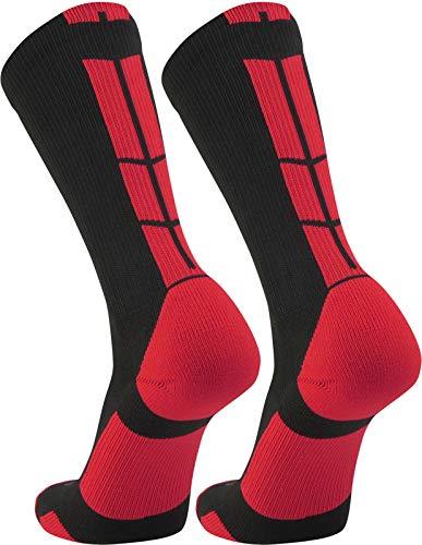 Twin City Multisport Baseline 3.0 Crew Socks,Black/Scarlet,X-Large