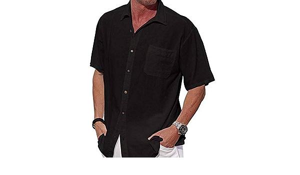 GFRBJK Camisa Negra Blanca para Hombre Camisa de Manga Corta