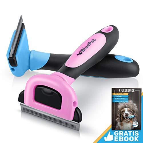 BluePet UnterwollGlück selbstreinigende deShedding Katzenbürste & Hundebürste | Entfernung der Unterwolle | 60mm