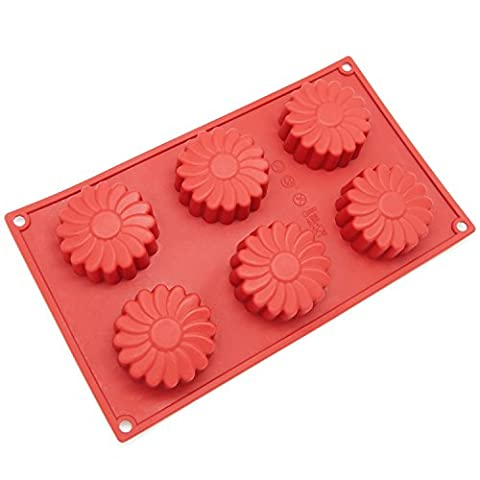 Freshware SL-129RD 6-Cavity Silicone Daisy Flower Muffin, Brownie, Cornbread, Cheesecake, Panna Cotta, Pudding, Jello Shot and Soap - Flower Silicone Candle