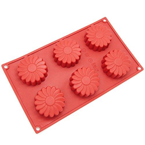 - Freshware SL-129RD 6-Cavity Silicone Daisy Flower Muffin, Brownie, Cornbread, Cheesecake, Panna Cotta, Pudding, Jello Shot and Soap Mold