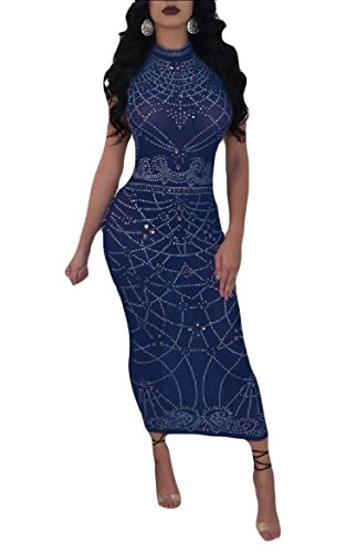 Coolred-femmes Taille Smockée Maille Sexy Strass Sexy Robe De Soirée Bleu Saphir