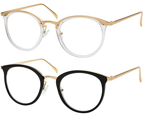 Reading Glasses Set of Black and Clear Classic Elegant Glasses for Reading for Women +1.25