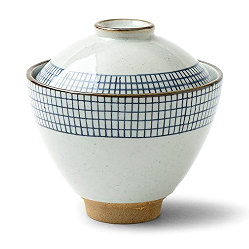 Japanese White and Blue Line Ceramic Soup Bowl with Lid for Rice Porridge Dessert Ice Cream