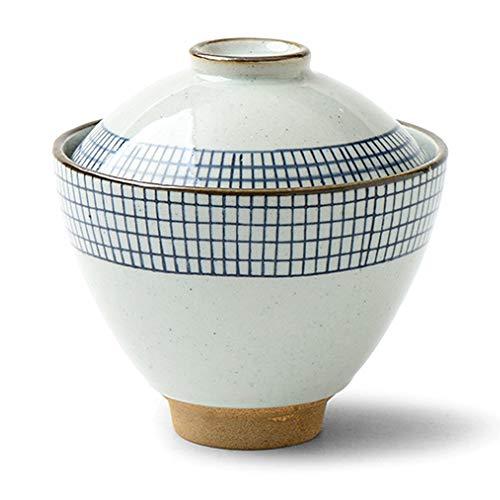 Japanese White and Blue Line Ceramic Soup Bowl with Lid for Rice Porridge Dessert Ice Cream