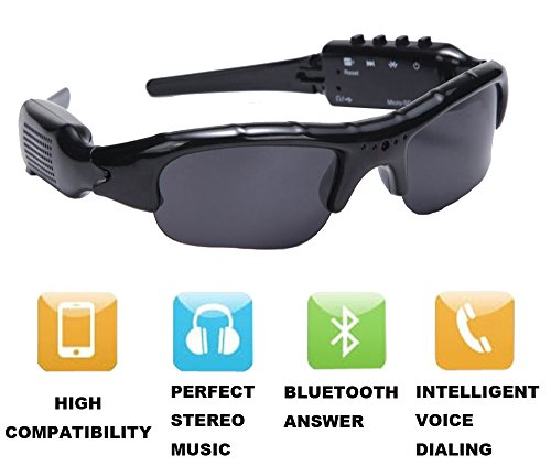 YOUBY2 720P Bluetooth Recording Sunglasses Devices With Mp3 Player Support Micro SD Card (Bluetooth Glasses With Mp3)