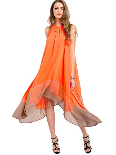 Milumia Women's Color-Block Chiffon Loose Long Maxi Dress Medium Orange