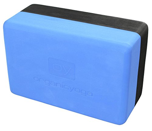 ORGANIC YOGA Non-Slip High-Density Foam Yoga Block - Aqua Blue/Black