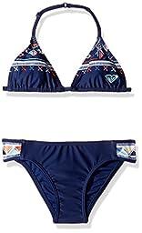 Roxy Big Girls\' Little Pretty Tri Set Two Piece Swimsuit, Blue Depths, 12