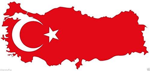 (MFX Design Turkey Turkish Map Flag Bumper Sticker Decal Hard Hat Sticker Decal Helmet Sticker Decal Laptop Sticker Decal Vinyl - Made in USA 3.5 in. x 2 in.)