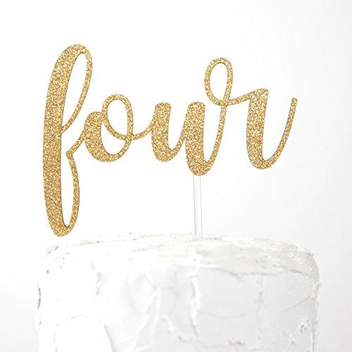 NANASUKO 4th Birthday Cake Topper - four - Premium quality Made in USA