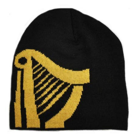 Guinness Black Knitted Black Beanie Hat With Large Gold Harp ()